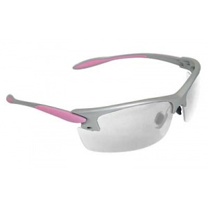 Radians Women's Shooting Glasses Silver and Pink frame, Clear lens RADPG0810CS