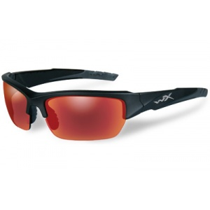 Wiley X Valor Black Ops Tactical Eyewear Black Two-Tone Frame Polarized Crimson Mirror Lens CHVAL05