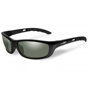 Wiley X P-17 Outdoors Tactical Eyewear Gloss Black Frame Emerald Green Lens Polarized P-17