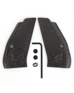 CZ 75 85 Compact Slim G10 Grips Black Checkered Diamond Cut with Skull Texture